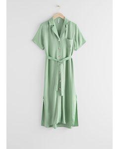 Satin Shirt Midi Dress Green
