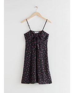 Front Tie Mini Dress Black Florals