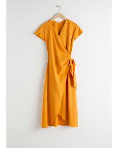 Lyocell Blend Wrap Midi Dress Yellow