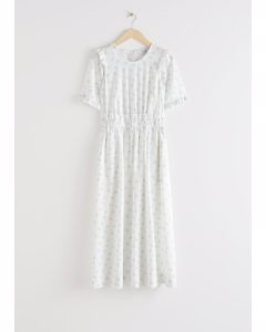 Lyocell Blend Ruffle Maxi Dress White Florals