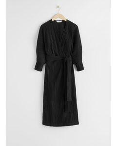 Belted Wrap Midi Dress Black