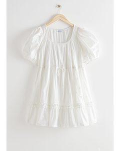 Tiered Puff Sleeve Mini Dress White