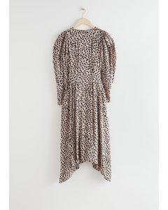 Puff Sleeve Midi Dress Cheetah