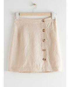 Buttoned Mini Skirt Beige