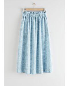 Frilled Midi Skirt Blue Florals
