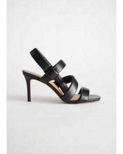 Padded Leather Heeled Sandals Black