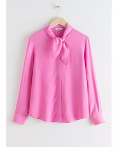 Satin Neck Bow Blouse Pink