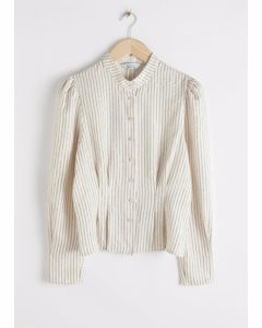 Glitter Striped Button Up Blouse Off White