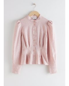 Glitter Striped Button Up Blouse Light Pink