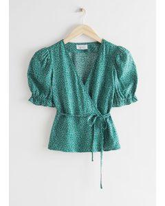 Puff Sleeve Wrap Blouse Green Print
