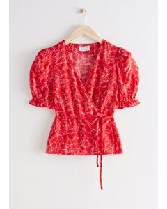 Puff Sleeve Wrap Blouse Red Print