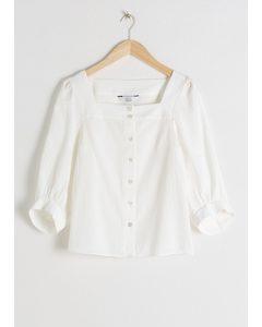 Plaid Puff Sleeve Blouse White