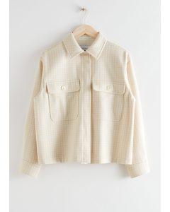 Oversized Wool Blend Workwear Shirt Beige Checks