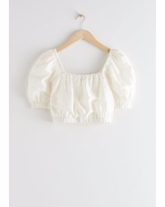 Puff Sleeve Crop Top White