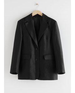 Boxy Oversized Blazer Black