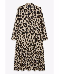 Maxi Shirt Dress Big Leopard Print