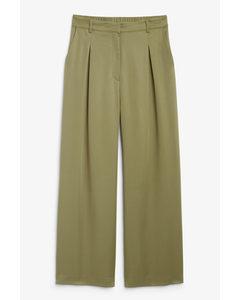 Wide Leg Pleated Trousers Khaki Green