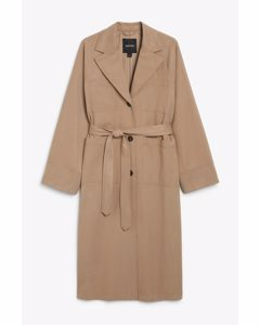 Utility Trench Coat Taupe Brown