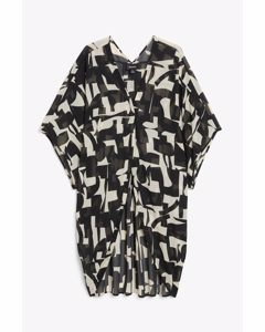 Oversized Beach Blouse Black And White Print