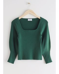 Fitted Square Neck Rib Knit Top Dark Green