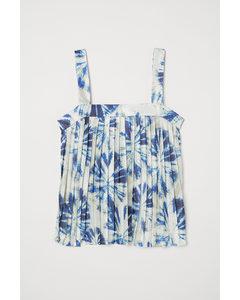Geplisseerde Top Beige/blauw Batik