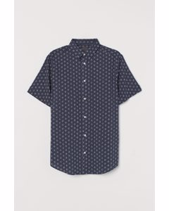 Kortärmad Skjorta Regular Fit Mörkblå/mönstrad