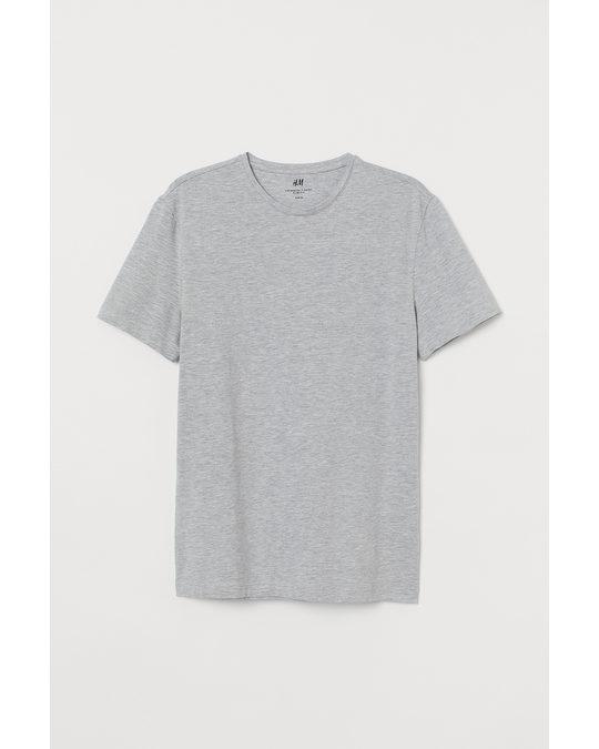 H&M T-Shirt Slim Fit Hellgraumeliert