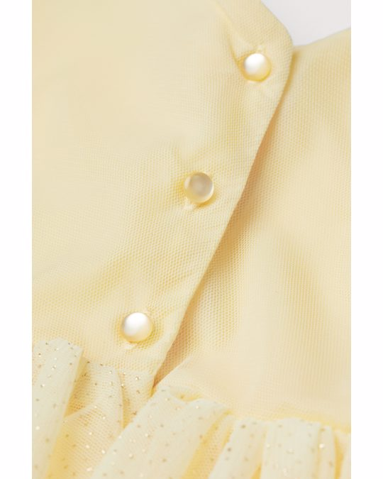 H&M Glittery Tulle Dress Light Yellow