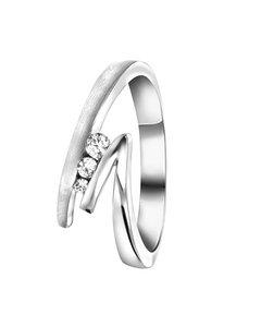 Zilveren Ring Mat/glans Met Zirkonia