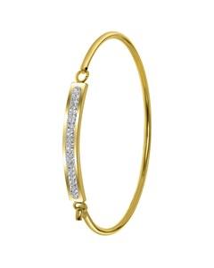 Stalen Kinderarmband Gold Met Wit Kristal