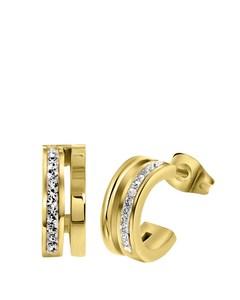 Ohrringe, Edelstahl, vergoldet, weißer Kristall