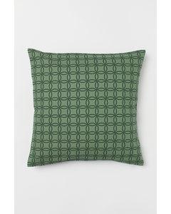 Slubvävt Kuddfodral Grön/mönstrad