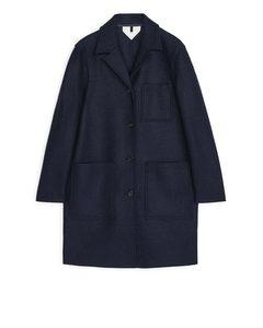 Jersey Wool Coat Dark Blue