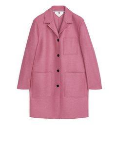 Jersey Wool Coat Pink
