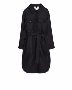 Wool Overshirt Coat Black