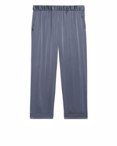 Satin Pyjama Trousers Steel Blue