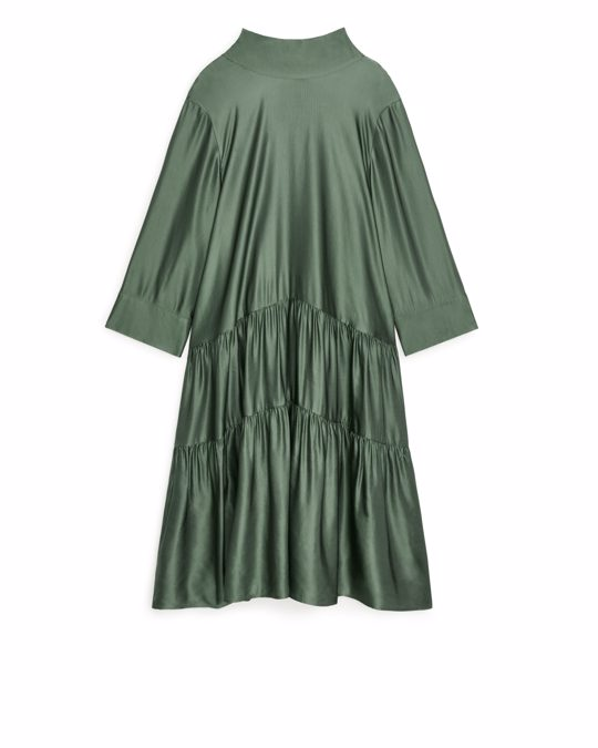 Arket Lustrous Gathered Dress Khaki Green