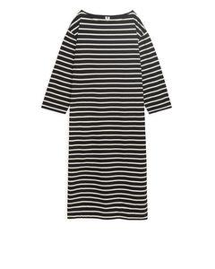 Langes Jerseykleid Schwarz/Beige