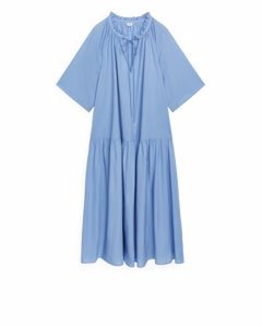 Printed A-line Dress Light Blue