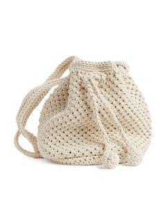 Crochet Bucket Bag Off White