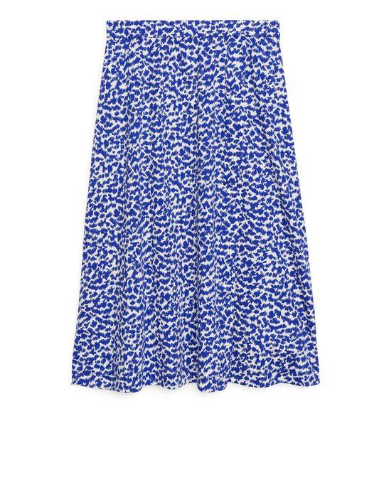 Arket Wrap-style Jersey Skirt Blue/white