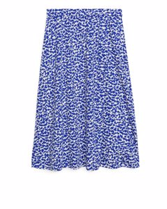 Wrap-style Jersey Skirt Blue/white