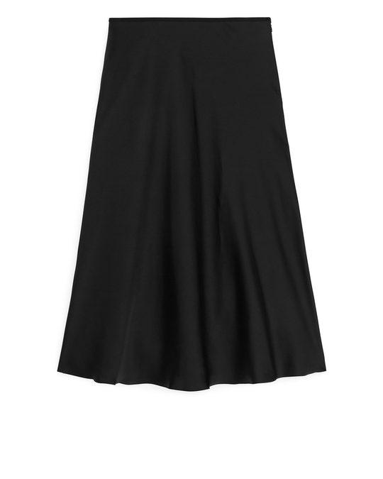 Arket Bias-cut Satin Skirt Black