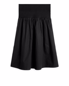 Shirred Cotton Skirt Black