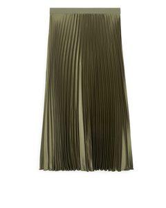 Pleated Midi Skirt Bronze