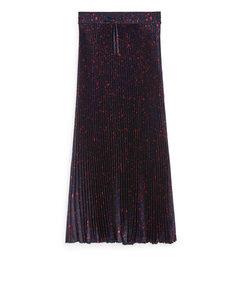 Long Pleated Satin Skirt Dark Blue/Print
