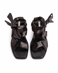 Satin-strap Leather Sandals Brown