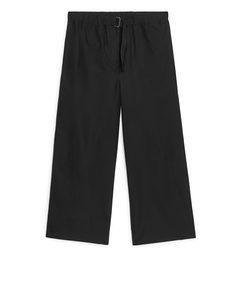 Buckle-detail Poplin Trousers Black