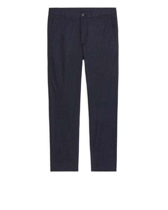 Arket Lightweight Cotton Trousers Dark Blue