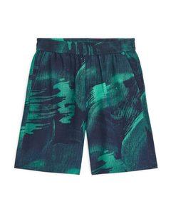 Linen-silk Shorts Green/blue